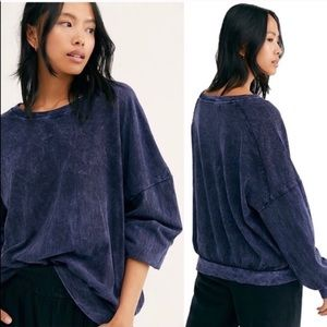 Free People 213 Vintage Long Sleeve Shirt blue